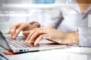 Woman using laptop image